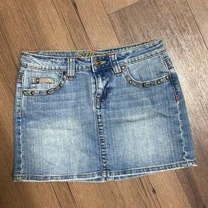 Bubblegum Studded Light Wash Denim Mini Skirt